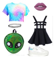 """School #4"" by acidic-alien on Polyvore featuring Lime Crime, Ash and Comeco"
