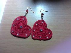 orecchini cuore all'uncinetto