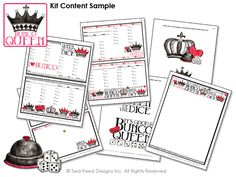Bunco Queen - free bunco score sheets from Tara Reed Designs