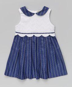 Blue & White Stripe Eyelet Dress - Infant, Toddler & Girls | zulily