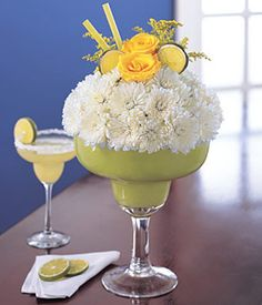 Cocktail Margaritas - White daisies with lemon slices and yellow roses - Novelty Flower Arrangements