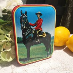 Mid Century Decorative Canadian Mountie Candy Tin Litho Box vanity tea toffee trinket storage jewelry décor Canada horse England by WonderCabinetArts
