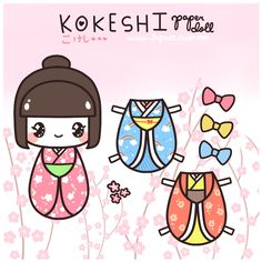 """Kokeshi are traditional handcrafted wooden Japanese dolls that, according to researchers, have been around since the 1600's. ( ̄0 ̄;)!! Traditional kokeshi are more simple in design and color, while modern kokeshi designs have now adopted the kawaii pop culture, which can also be seen in our """"kokeshi OCs"""" in our website headers.    Here we have made another printable paper doll for you to cut out and enjoy!  Yay for freebies heheh! (*゜▽゜ノノ゛☆"""