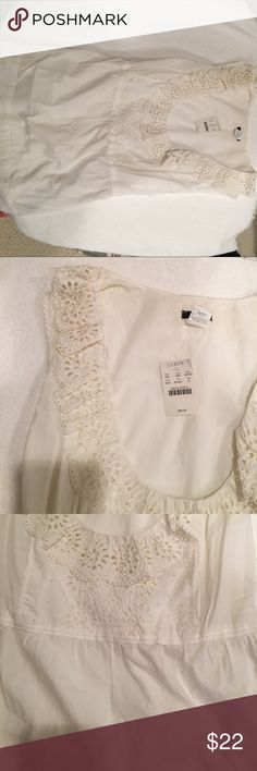J Crew eyelet top Egg white cotton tie back cami top with eyelet detail JCrew Tops Camisoles