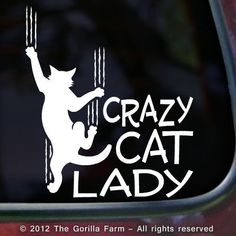 CRAZY CAT LADY Window Car Vinyl Decal Bumper Sticker Kitty Sign WHITE BLACK PINK