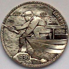 DIMAS SÁNCHEZ MORADIELLOS HOBO NICKEL - BLACK BASS DAWNS - 1936 BUFFALO NICKEL Sculpture Art, Sculptures, Custom Coins, Hobo Nickel, Coin Art, Modern Love, Us Coins, Coin Collecting, Cool Artwork