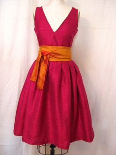 Raspberry Vneck Retrostyle Dress by kimeradesign on Etsy, $238.00