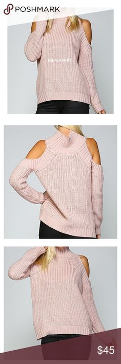 Mauve Turtle Neck Cold Shoulder Sweater Super chic turtle neck cold shoulder sweater. So warm and comfortable. Made out of 100% soft and smooth Acrylic. Brand new. Price is firm unless bundled. Very flattering. These run a bit small so please order a size up if you like your sweaters loose fitting. Tнαик уσυ  💕 Sweaters Cowl & Turtlenecks