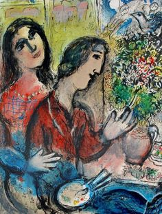 """Marc Chagall. """"Lovers under lilies"""" 1925"""