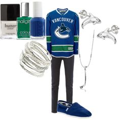 Vancouver Canucks, I sooo neeeed this! Vancouver Canucks, Fashion 101, Fashion Looks, Hockey Outfits, Hockey Teams, Hockey Stuff, St Louis Blues, Casual Cosplay, Outfit Combinations