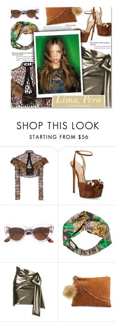 """How to Style a Metallic Skirt with Clear Sunglasses, a Fur Pom Pom Purse and Embellished Shoes"" by outfitsfortravel ❤ liked on Polyvore featuring Christian Siriano, Casadei, E L L E R Y, Gucci, Yves Saint Laurent, Violet Ray and contemporary"