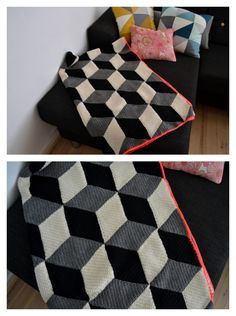 Crochet graphic Black and White blanket