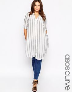 Enlarge ASOS CURVE Stripe Blouse With Side Splits
