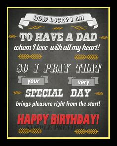 Typography Greeting Card for DAD Father Birthday by MyBestCards