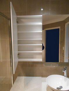 Inside view of in built shaving cabinet, all with adjustable shelving Shaving Cabinet, Adjustable Shelving, Brisbane, Bliss, Shower, Mirror, Bathroom, Furniture, Home Decor