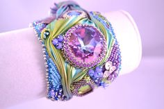 Handmade Shibori Ribbon and Swarovski Crystal Cuff by CloesCloset, $195.00