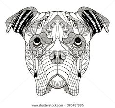 Boxer dog head zentangle stylized, vector, illustration, freehand pencil, hand drawn, pattern. Zen art. Ornate vector. Lace. - stock vector