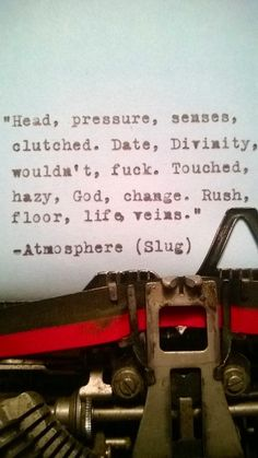 Atmosphere Quotes, Atmosphere Lyrics, Rap Quotes, Lyric Quotes, Book Quotes, Play That Funky Music, Crosses Decor, Perfection Quotes, My Secret Garden