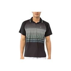 Men's Fila Platinum Polo - Black/Ocean Blue Polo Shirts ($75) ❤ liked on Polyvore featuring men's fashion, men's clothing, men's shirts, men's polos, mens long tail shirts, mens jersey shirts, mens polo shirts, mens jersey polo shirts and mens jerseys
