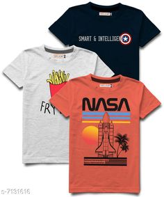 Tshirts & Polos Hellcat stylish Boys Round Neck Tshirts Pack of 3 Fabric: Cotton Blend Sleeve Length: Short Sleeves Pattern: Printed Multipack: Pack of 3 Sizes:  5-6 Years (Chest Size: 13 in, Length Size: 19 in)  15-16 Years (Chest Size: 18 in, Length Size: 26.5 in)  13-14 Years (Chest Size: 17 in, Length Size: 25 in)  1-2 Years (Chest Size: 11 in, Length Size: 17 in)  11-12 Years (Chest Size: 16 in, Length Size: 23 in)  3-4 Years (Chest Size: 12 in, Length Size: 18 in)  9-10 Years (Chest Size: 15 in, Length Size: 21.5 in)  7-8 Years (Chest Size: 14 in, Length Size: 20.5 in) Sizes Available: 3-4 Years, 5-6 Years, 7-8 Years, 9-10 Years, 11-12 Years, 13-14 Years, 15-16 Years, 1-2 Years *Proof of Safe Delivery! Click to know on Safety Standards of Delivery Partners- https://ltl.sh/y_nZrAV3  Catalog Rating: ★4.2 (9813)  Catalog Name: Tinkle Comfy Boys Tshirts CatalogID_1138542 C59-SC1173 Code: 265-7131616-