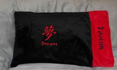 Embroidered Minky Kanji Pillow Case by BunnyInAteacup on Etsy, $16.00