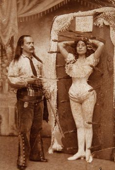 Knife thrower Signor Arcaris & sister Miss Rose Arcaris. Ca.1900.