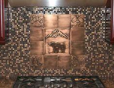 Copper Tile Backsplash, Rustic Backsplash, Splashback Tiles, Backsplash Ideas, Copper Art, Copper Color, Handmade Tiles, Handmade Copper, Hamsa