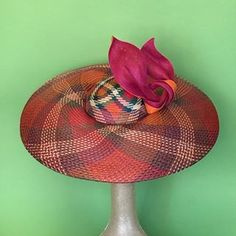 The colours are wild on this beautiful hand woven straw hat! Carefully hand formed to create a unique dior brim finished with a delicate twist of fine straw trim. Comfortable to wear. Goes with so many colours. Try it on at Hugo Boss, Collins Street. Orange Pink, Magenta, Blue Green, Spring Carnival, Spring Racing, Brim Hat, Beautiful Hands, Hugo Boss, Hand Weaving