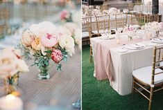 Bali Wedding, Gold Chiavari Chairs, Long Tables, Pink and Blush centerpiece, Blush Table Runner, www.snippetandink.com