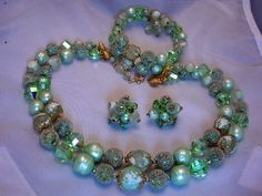 Vintage Jewelry Vendome Crystal Necklace Bracelet Earrings Demi Set