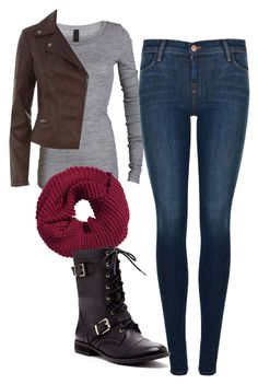 """Elena Gilbert Inspired Outfit"" by mytvdstyle ❤ liked on Polyvore featuring J Brand, H&M, Sole Society, women's clothing, women's fashion, women, female, woman, misses and juniors"