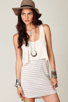 Cropped tank over a dress, cute outfit.
