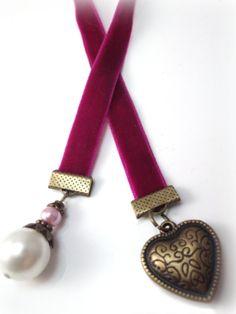 Valentine Beaded Bookmark With Plum Velvet Ribbon by StephsStacks, $7.00
