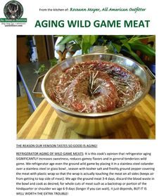 Aging wild game meat - waterfowl - turkeys will greatly improve tenderness and flavor!