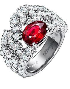Marie-Antoinette Ring in 18-carat white gold pavé diamonds (2.82 ct), 1 Burmese ruby (2.66 ct)