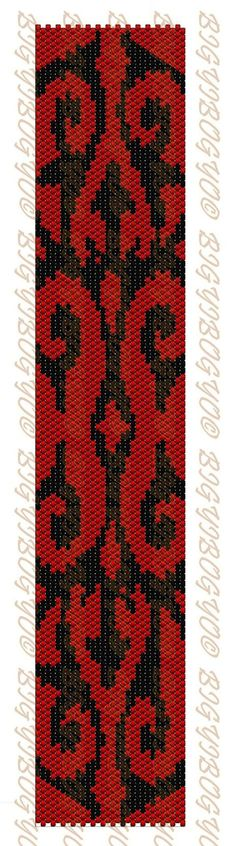 Cool Red and Black Beaded Bracelet pattern