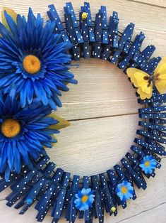 Your place to buy and sell all things handmade, Spring Clothespin Wreath/Summer Wreath/Spring Wreath/Spring Wreath Crafts, Diy Wreath, Mesh Wreaths, Summer Deco, Clothes Pin Wreath, Wire Wreath Frame, Homemade Wreaths, Dollar Tree Crafts, Summer Wreath