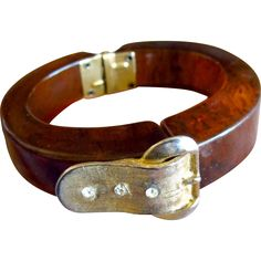 "t's ""Make an Offer"" Week in my shop, now through June 19th!   Tortoise Bakelite Buckle Clamper Bracelet"