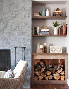 walnut bookshelves, ventian plaster fireplace