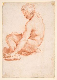 Francesco Salviati (Francesco de' Rossi), 1510-1563, Italian, Seated Male Nude, 1510-63.  Red chalk: 16 x 11.1 cm.  Metropolitan Museum of Art, New York.  Mannerism.
