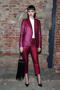 Coco Rocha at Christian Siriano. All about the colored suit!