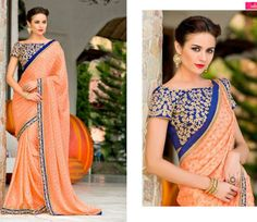 Saree Bollywood Designer Ethnic Indian Partywear Silk Chiffon Sari Latest Blouse | eBay