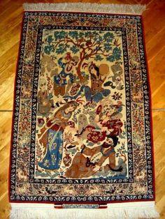 Beautiful Persian silk rug.