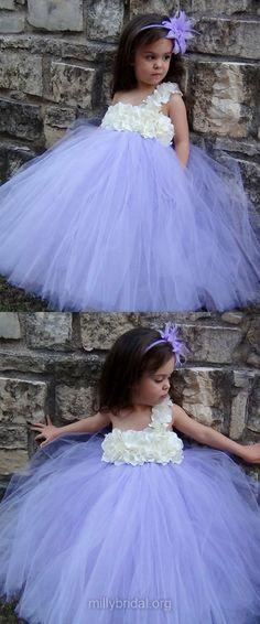 Empire Flower Girl Dresses Purple,One Shoulder Holiday & Christmas Dresses,Tulle Ball Gown Flower Girl Dresses Popular