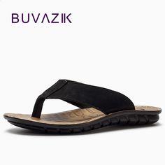 16f07e848f BUVAZIK 2018 nyári strand papucs magas színvonalú valódi bőr férfi pólók  flip flops férfi slides divat alkalmi flip flop
