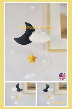 Baby Mobile, Nursery Decor, Ceiling Hanging Mobile, Modern Mobile, Moon Cloud Star Mobile, Navy Blue White Sunflower by hingmade on Etsy https://www.etsy.com/listing/190426470/baby-mobile-nursery-decor-ceiling