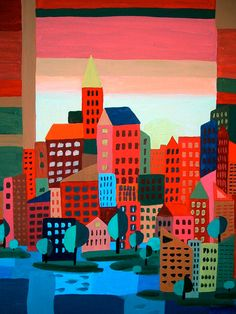 City on the Bay - original painting - aoteam