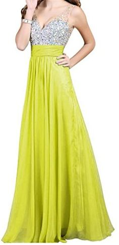 Endofjune Floorlength Gorgeous Chiffon Backless Beading Prom Party Dress US14 Yellow >>> Check this awesome product by going to the link at the image.