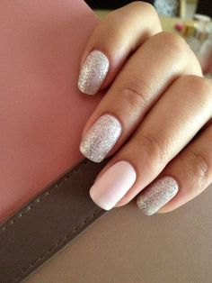 Nude & Glitter Wedding Nails for Brides / http://www.himisspuff.com/wedding-nail-art-desgins/3/