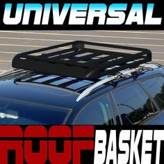 "Blk Aluminum 50"" Roof Rack Rail Basket Cargo Bag Utility Gear Kit Container Sd4"